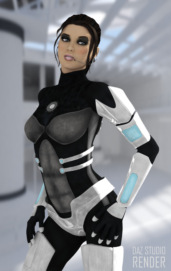 Scifi 3d armoured female suit for daz studio and poser for Female space suit