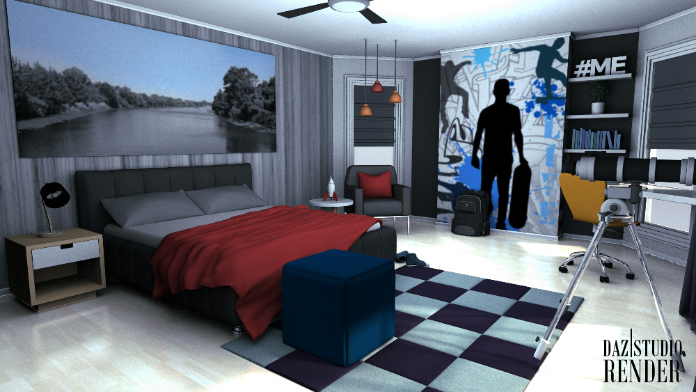 3D Teen Boys Bedroom | inLite studio 3D store